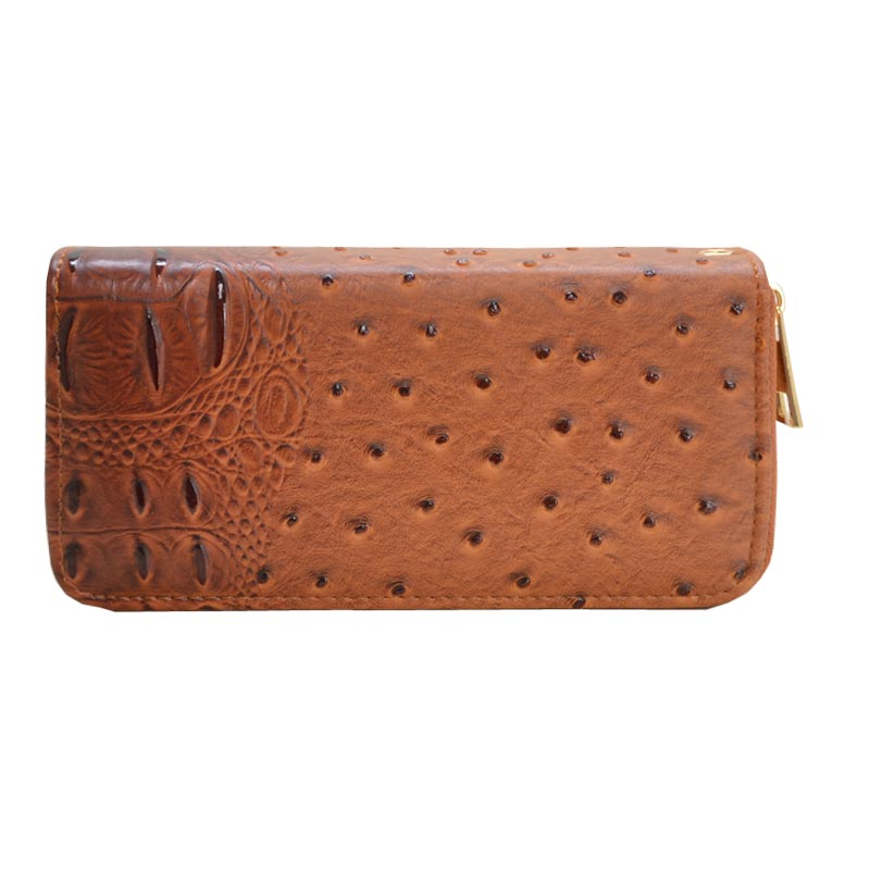 Ostrich Embossed Emblem Dome-shaped Wallet Brown