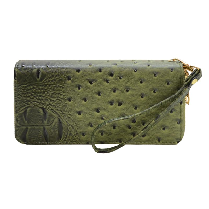 Ostrich Embossed Emblem Dome-shaped Wallet Olive