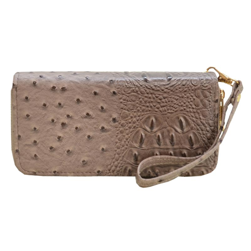 Ostrich Embossed Emblem Dome-shaped Wallet Stone