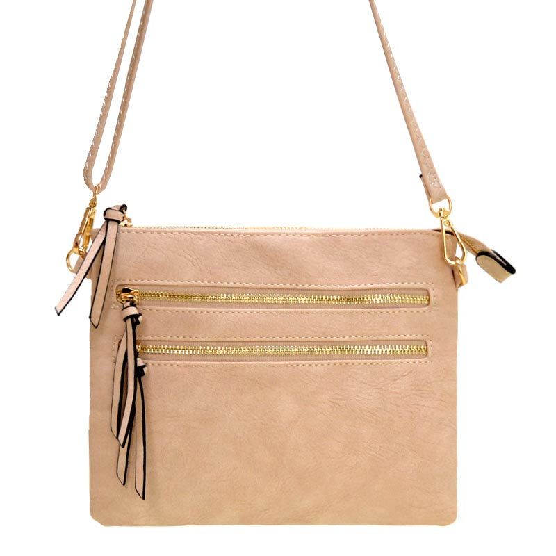 Multi Zipper Crossbody Fashion Bag Beige