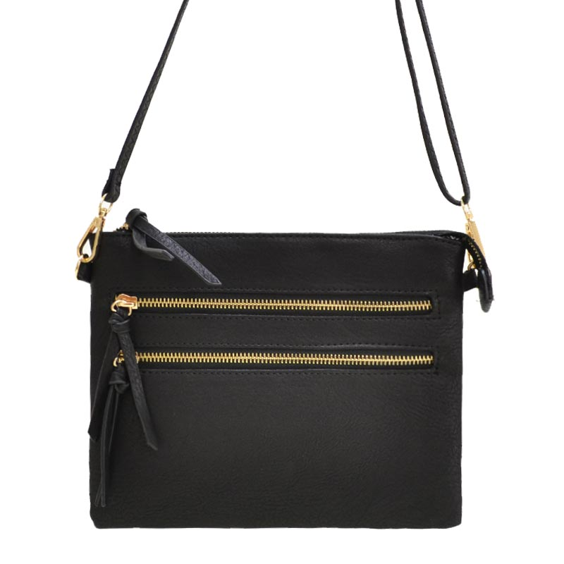 Multi Zipper Crossbody Fashion Bag Black