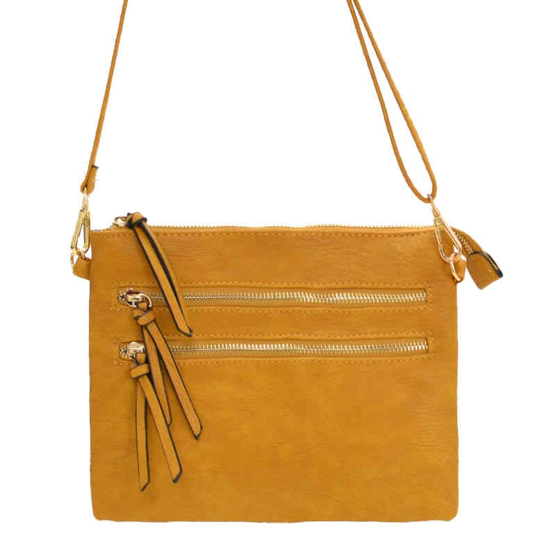 Multi Zipper Crossbody Fashion Bag Mustard