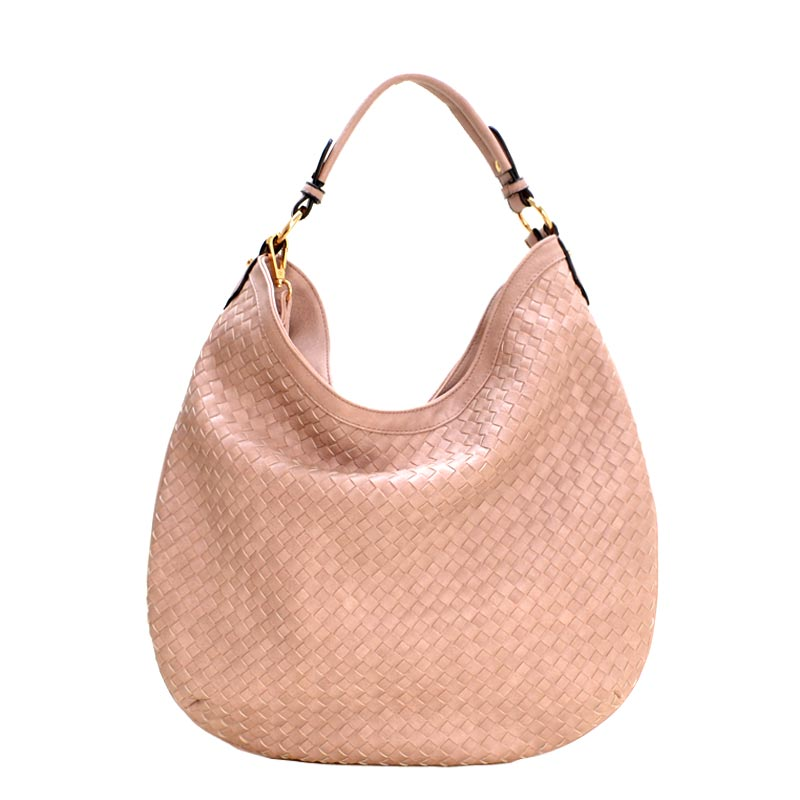 Fashionable Woven Front Single Strap 2-Way Hobo Blush