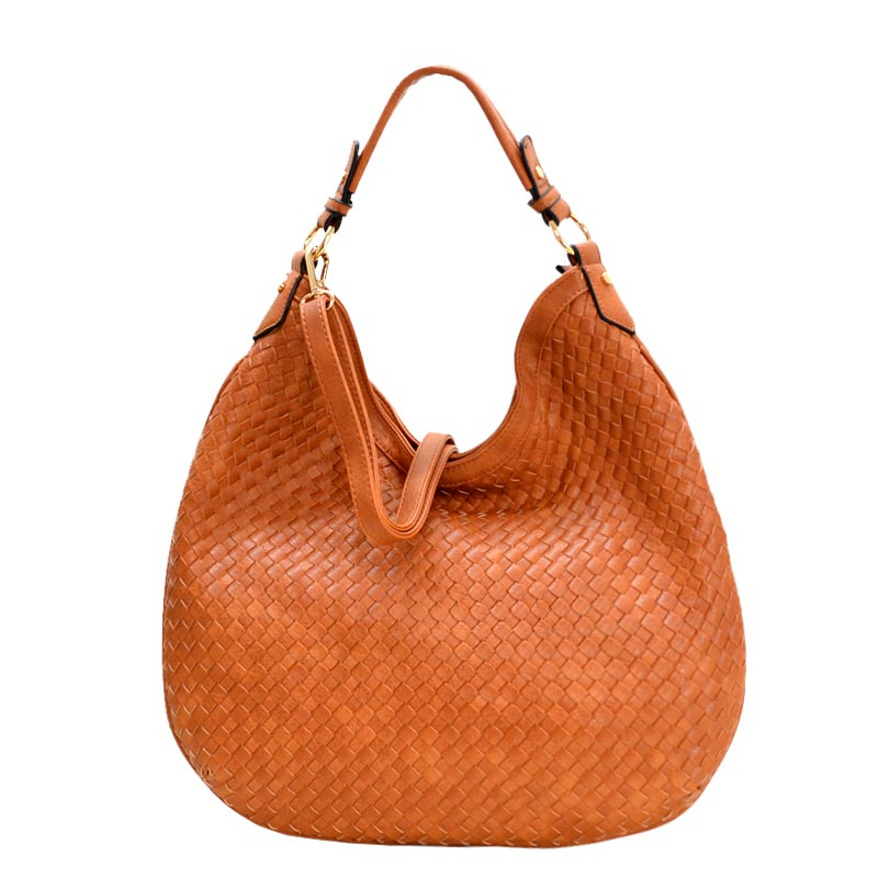 Fashionable Woven Front Single Strap 2-Way Hobo Brown