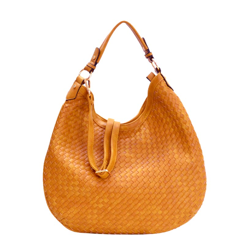 Fashionable Woven Front Single Strap 2-Way Hobo Mustard