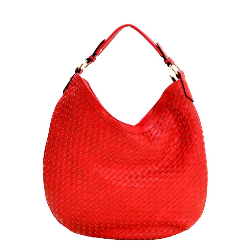 Fashionable Woven Front Single Strap 2-Way Hobo Red