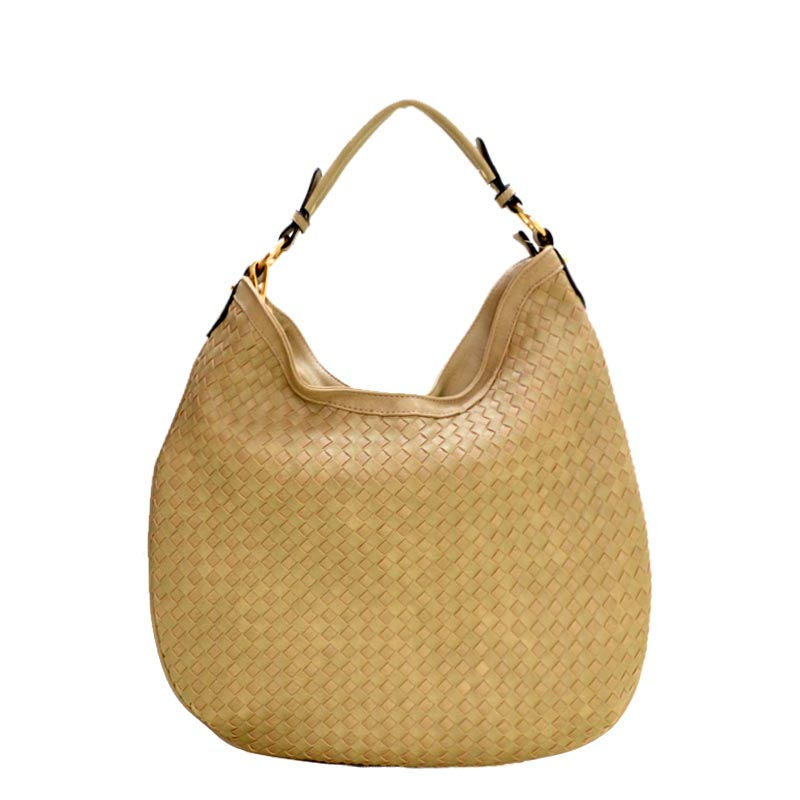 Fashionable Woven Front Single Strap 2-Way Hobo Taupe