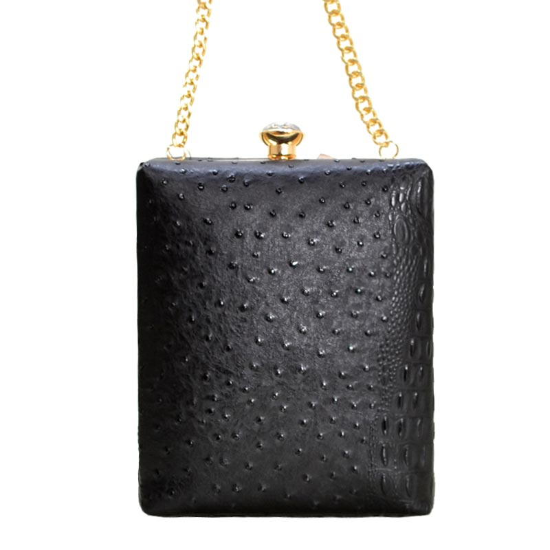Ostrich Embossed Jewel-Top Frame Shoulder Bag Black