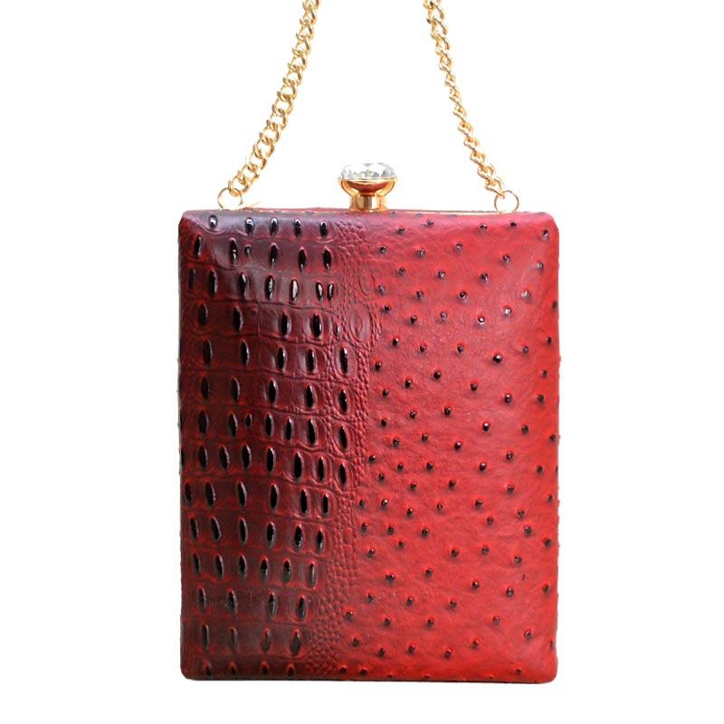 7f74417b76d2 Ostrich Embossed Jewel-Top Frame Shoulder Bag Red