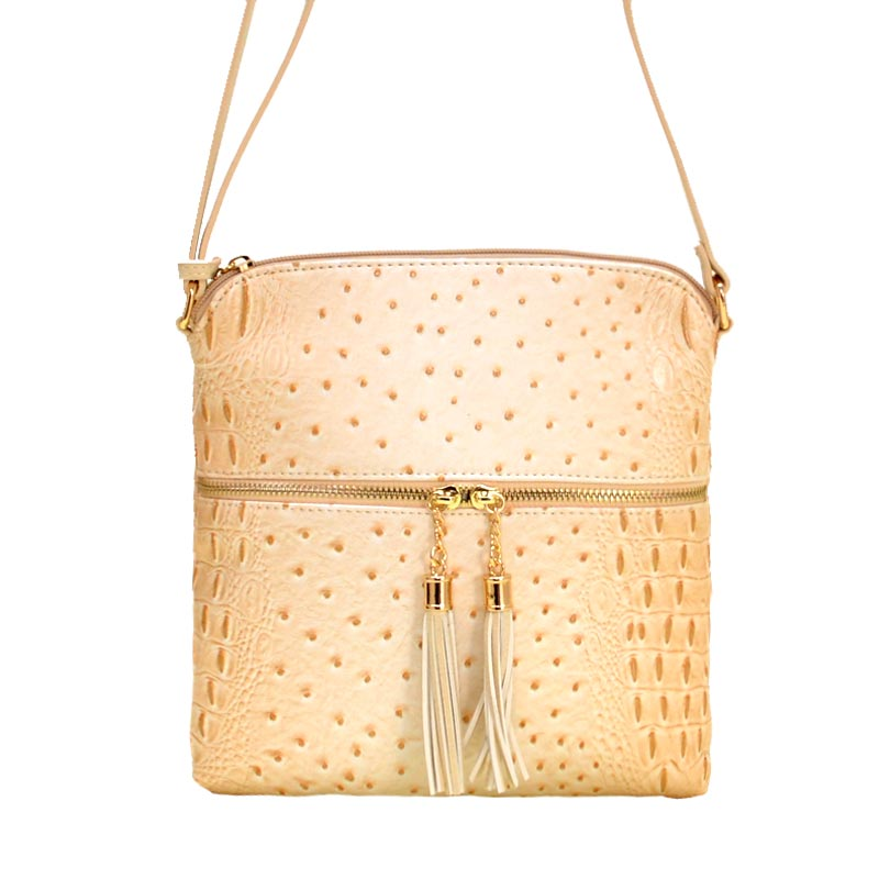 Ostrich Skin Textured Cross Body Bag Beige