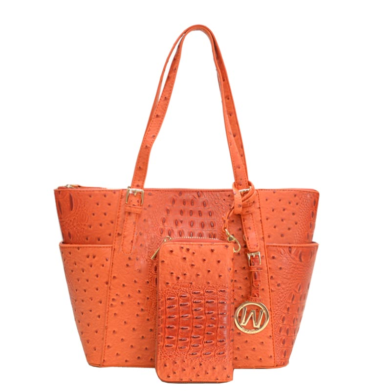 Ostrich Croc 2-in-1 Shopper Tangerine