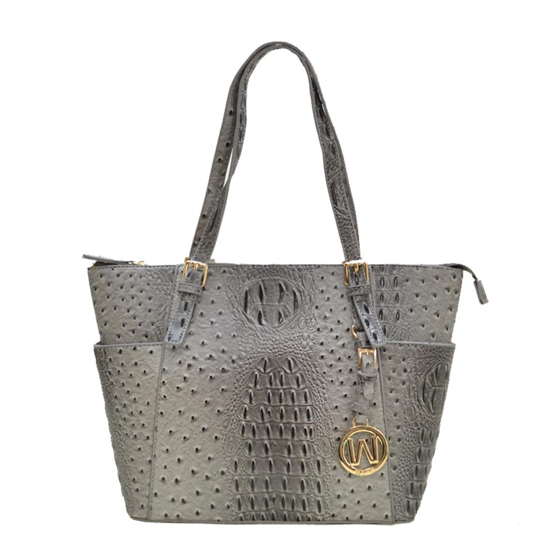 Ostrich Croc 2-in-1 Shopper Dark Grey
