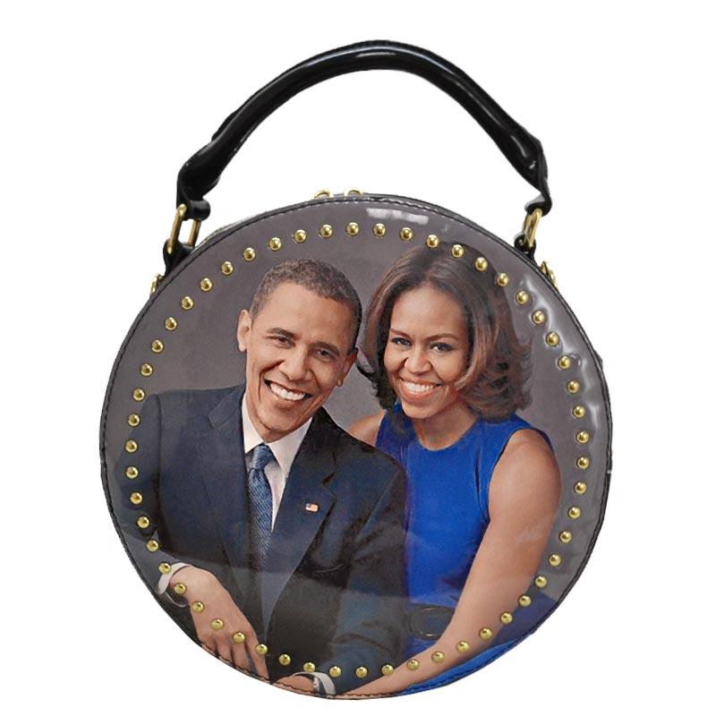 Obama Magazine Studded Round satchel with Wallet 1