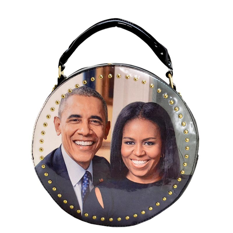 Obama Magazine Studded Round satchel with Wallet 3