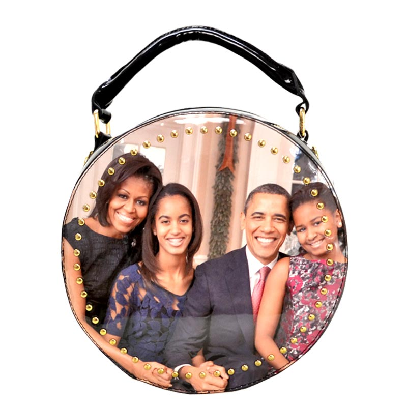 Obama Magazine Studded Round satchel with Wallet 4