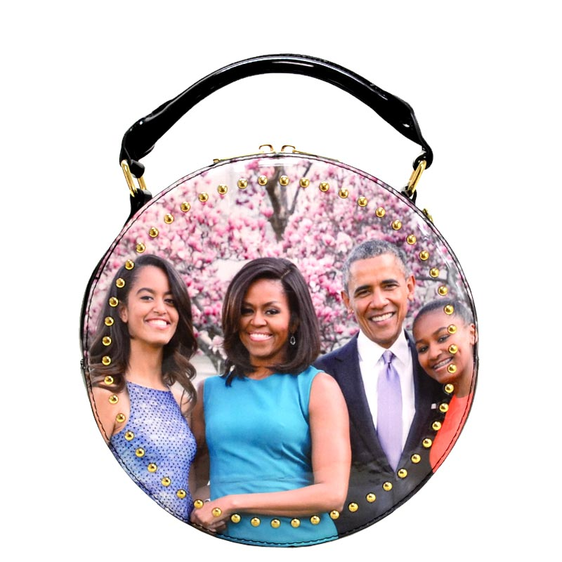Obama Magazine Studded Round satchel with Wallet 5