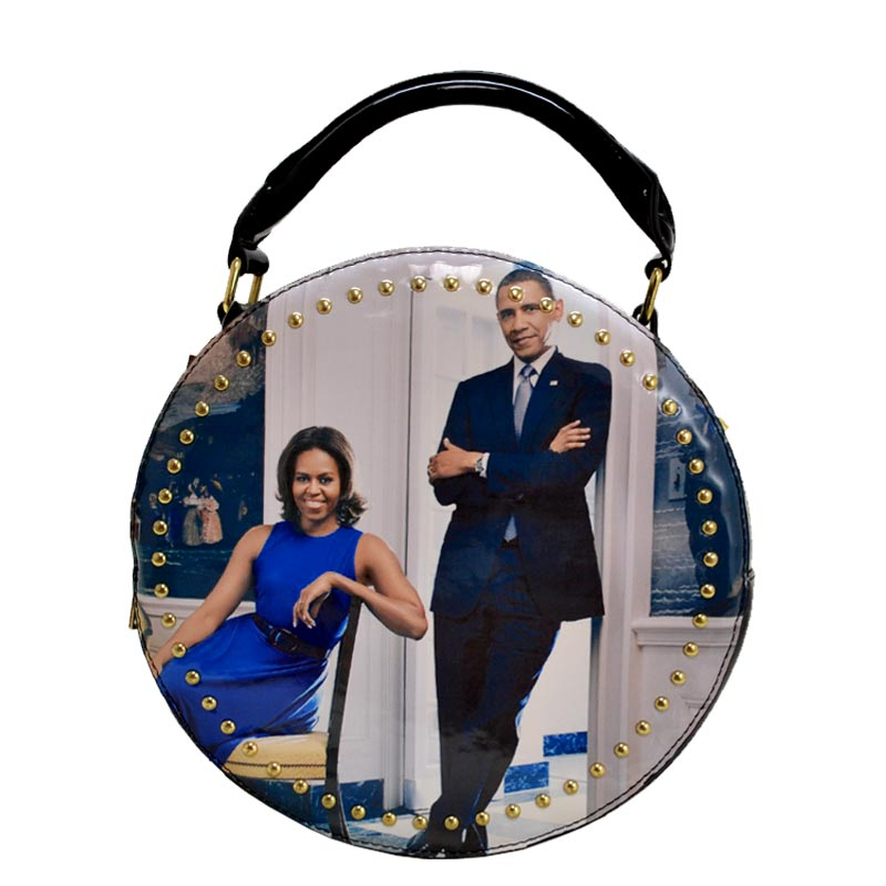 Obama Magazine Studded Round satchel with Wallet 6