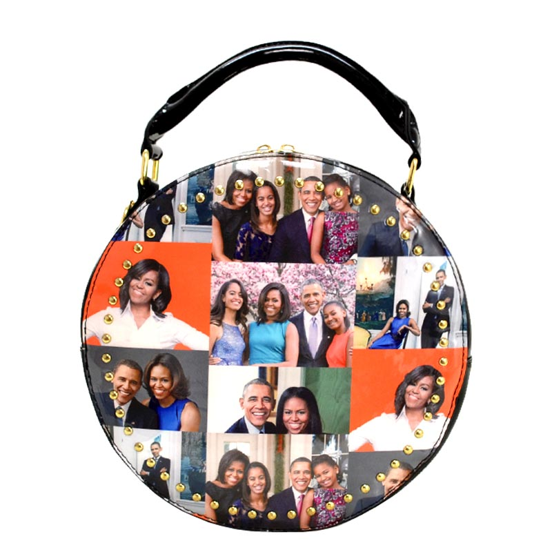 Obama Magazine Studded Round satchel with Wallet 7