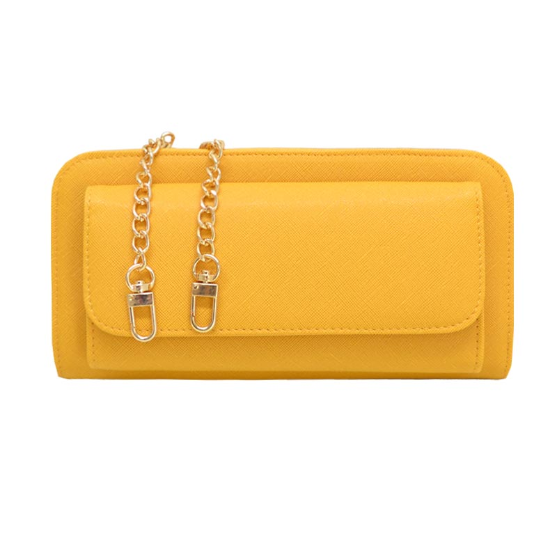 Elegant Modern Mono Tone Colored Fashion Wallet Mustard