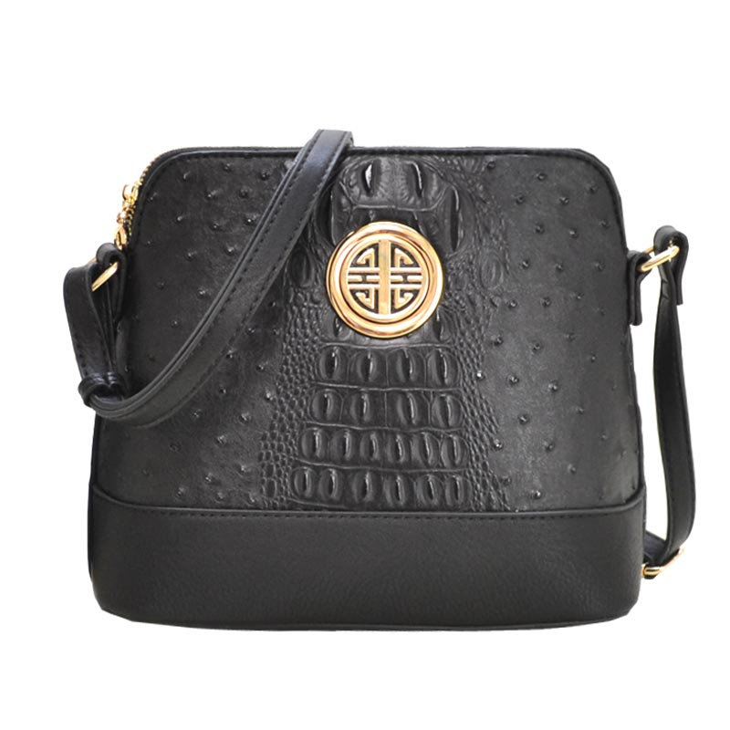 Ostrich Embossed Emblem Dome-shaped Cross Body Black