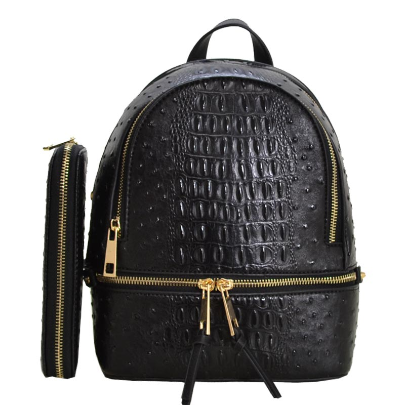 Ostrich Leather Small Backpack and Wallet Black